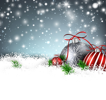 Christmas background with fir branches and balls. Vector illustration.  Vector