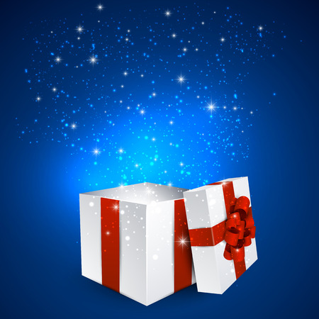 Opened 3d realistic gift box with red bow. Vector illustration.   イラスト・ベクター素材