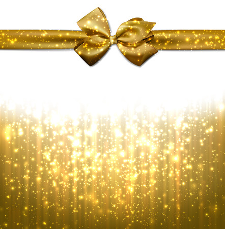 Golden winter abstract background. Christmas background with ribbon and bow. Vector.