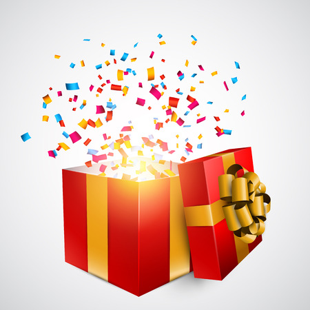 red gift box: Opened 3d realistic red gift box with golden bow and confetti. Vector illustration.