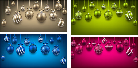 christmas balls: Abstract arc colorful backgrounds with christmas balls.  Illustration