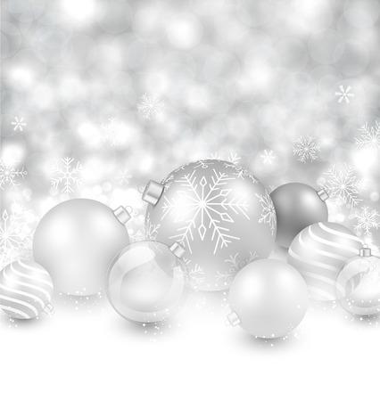 silver balls: Winter background. Fallen defocused snowflakes. Christmas silver balls.  Illustration