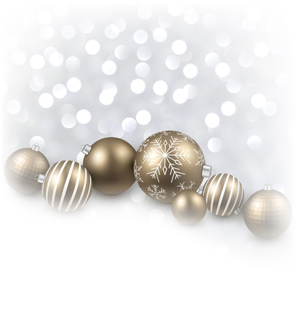 fallen: Fallen defocused snowflakes. Christmas golden balls.