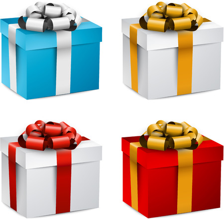 closed box: Collection of 3d closed gift boxes with satin bows.