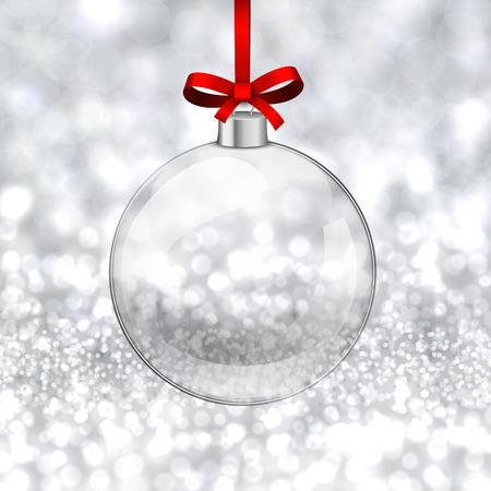 Silver defocused background. Bright bokeh. Glass ball. Vector.