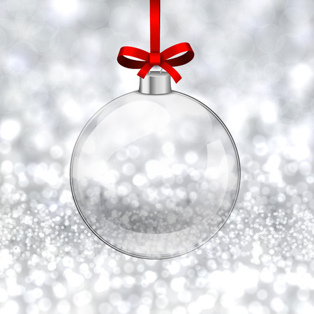 'christmas ball': Silver defocused background. Bright bokeh. Glass ball. Vector.