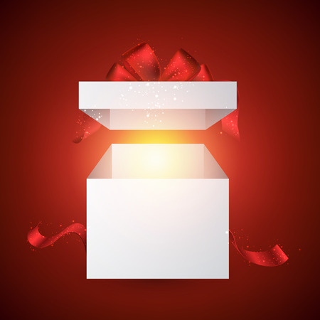 open gift: Opened 3d realistic gift box with red bow. Vector illustration.