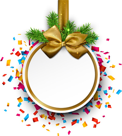 blue bow: Paper christmas  ball with golden satin bow over colorful confetti. Vector background.