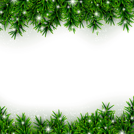 Christmas background with fir and stars. Vectores