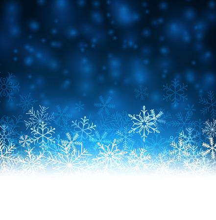 Blue winter abstract background. Christmas background with snowflakes.  Vector
