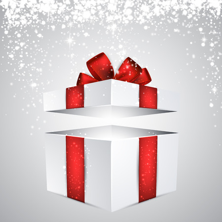 red gift box: 3d realistic gift box with red bow. Vector illustration. Illustration