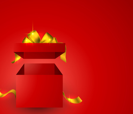 Red background with 3d realistic gift box and golden bow.  Vector