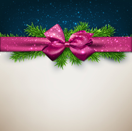 crystallize: Winter background with crystallize snowflakes with purple gift bow.