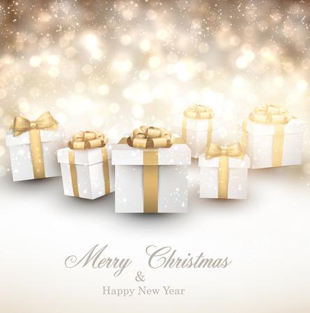 Golden winter background. Fallen defocused snowflakes. Christmas gifts. Vector illustration.  Vector
