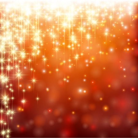 Red winter abstract background. Christmas background with snowflakes and sparkles. Vector.  Vector