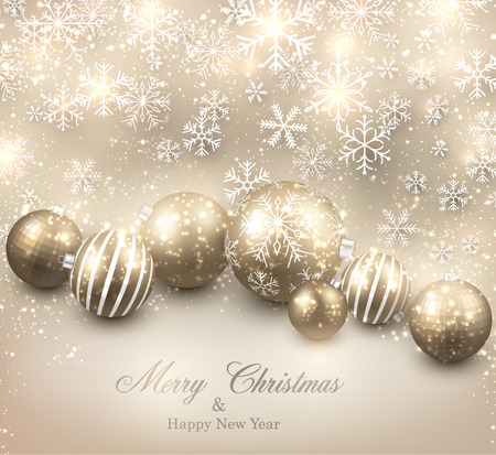 Winter background. Fallen bright snowflakes. Christmas golden balls. Vector illustration.  Vector