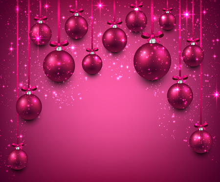 Abstract arc background with magenta christmas balls. Vector illustration.  Vector