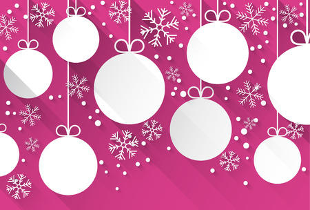 magenta decor: Winter abstract background with flat magenta paper christmas balls. Vector illustration.