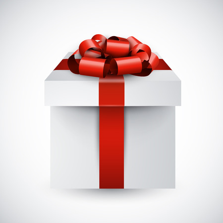 3d gift box with red bow. Realistic vector illustration.  Vector