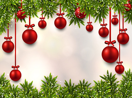 Christmas illustration with fir twigs and colorful balls. Vector background.