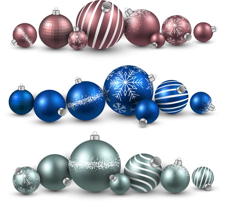 Set of colorful christmas balls. Vector illustration.   Vector