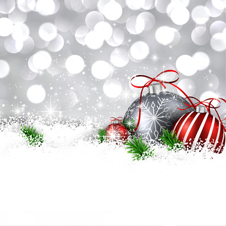 Silver christmas background with fir branches and balls. Vector illustration. Vector