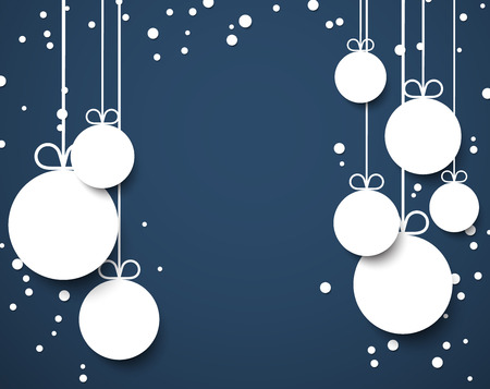 christmas balls: Dark blue winter abstract background with flat paper christmas balls. Vector illustration.