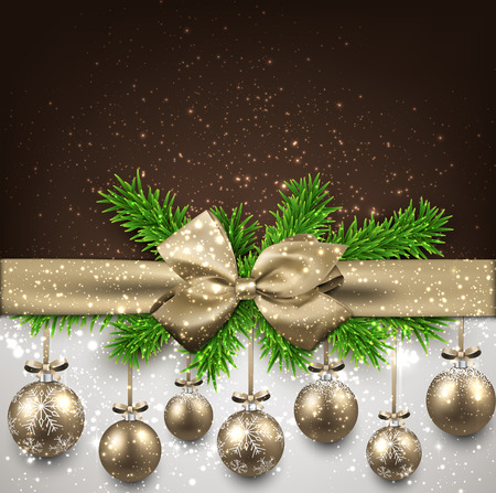Golden christmas balls and gift bow background. Vector illustration.