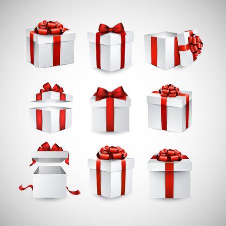 boxes: Collection of 3d gift boxes with satin red bows. Realistic vector illustration.
