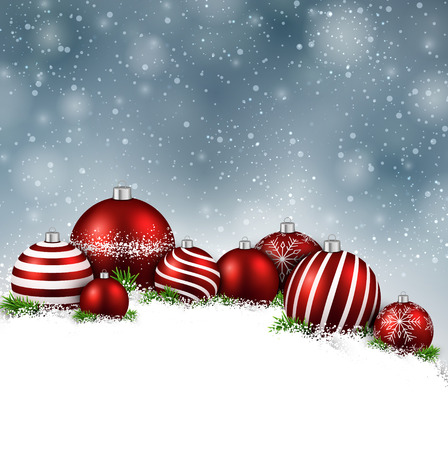 Abstract christmas background with fir branches and red balls. Vector illustration. Vector