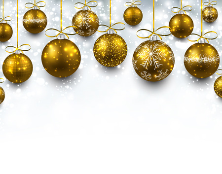 Abstract arc background with golden christmas balls.  Vector