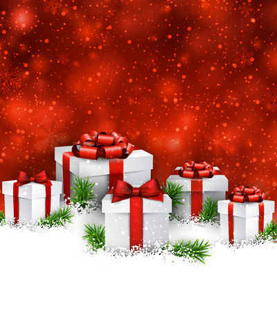 Abstract christmas background with fir branches and realistic gift boxes.