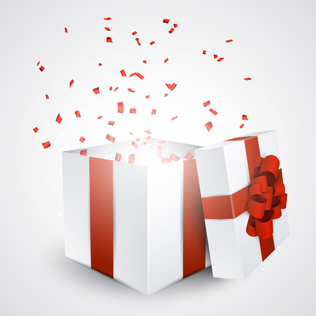 Opened 3d realistic gift box with red bow and confetti. Vector illustration.  矢量图像