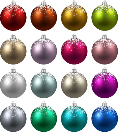 christmas decorations: Colorful christmas balls with snow. Set of isolated realistic decorations. Vector illustration.