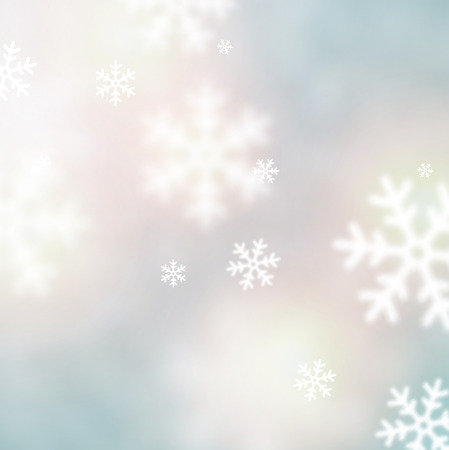 Blurred winter background with defocused snowflakes. Christmas illustration. Vector