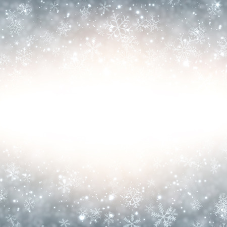 silver background: Silver winter abstract background. Christmas background with snowflakes. Vector.   Illustration