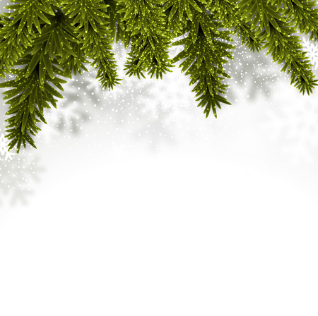 snow wreath: Christmas background with fir and stars. Vector illustration.