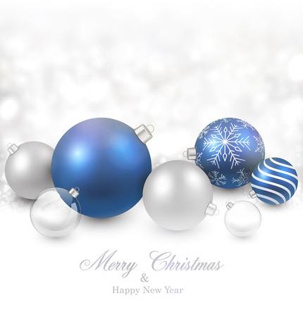 fallen: Winter background. Fallen defocused snowflakes. Christmas blue balls. Vector illustration.   Illustration