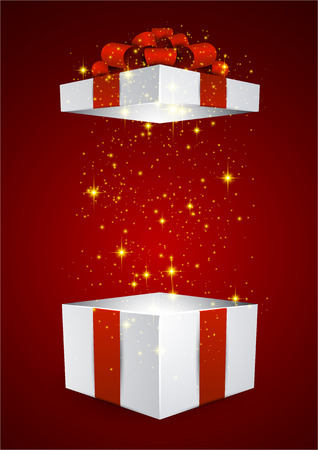 Opened 3d realistic gift box with red bow. Vector illustration.  Vettoriali