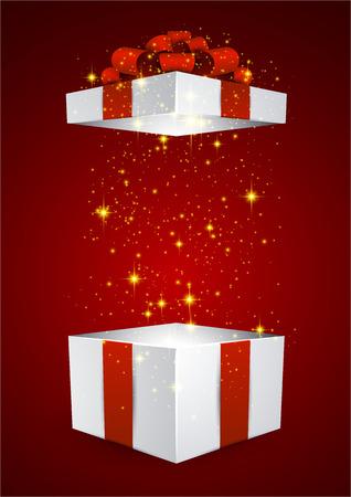 gift in celebration of a birth: Inaugurado 3d caja de regalo con lazo rojo realista. Ilustración del vector. Vectores