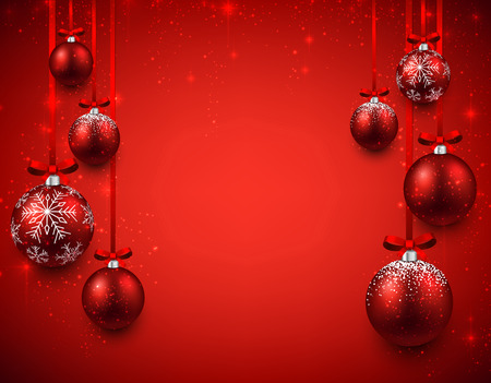 christmas balls: Abstract background with red christmas balls. Vector illustration.