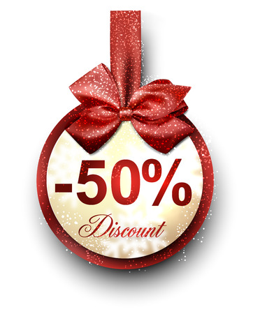 Sale and discount paper label with red bow and ribbon. Vector. Vector