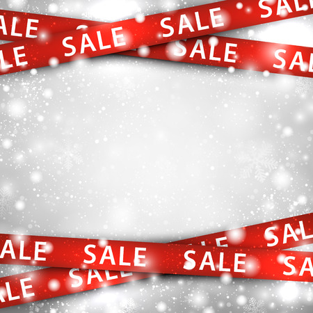 Winter background with red sale ribbons. Christmas vector illustration.  Çizim