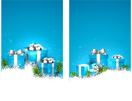 Abstract blue christmas banners with fir branches and realistic gift boxes. Vector illustration.  Vector