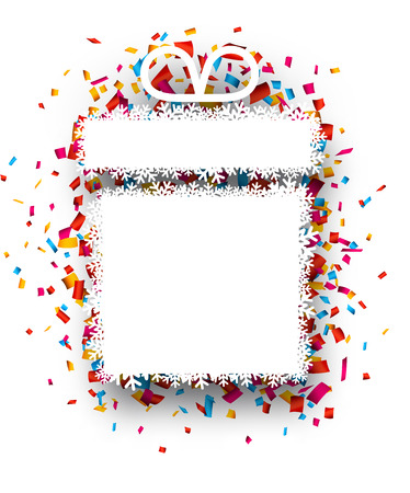 christma: Colorful celebration gift background with confetti. Vector Illustration.  Illustration