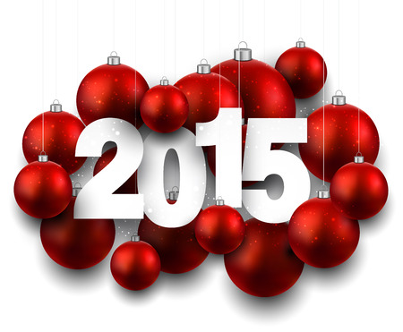 Happy 2015 new year with red christmas baubles. Vector paper illustration.  Vector