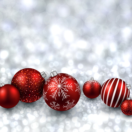 Silver defocused with red christmas balls background. Bright bokeh. Vector illustration. Vector