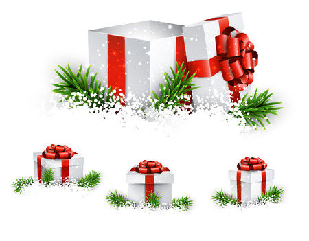 Collection of 3d christmas gift boxes with satin red bows. Realistic vector illustration.  Vector
