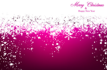 magenta decor: Magenta winter abstract background. Christmas background with snowflakes and sparkles. Vector.  Illustration