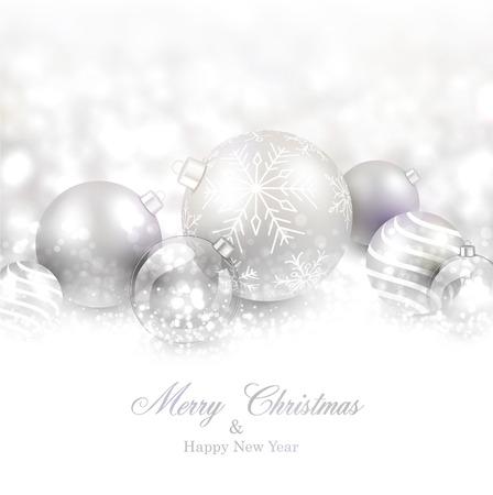 Winter background. Fallen defocused snowflakes. Christmas silver balls. Vector illustration.  Vector